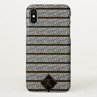 Coque iPhone X Les parties scintillantes argentées noires à la