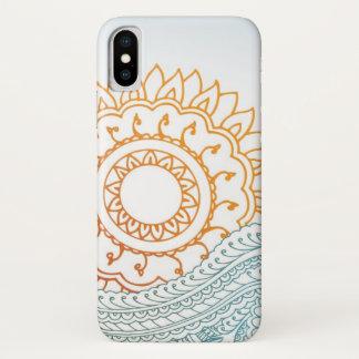 Coque iPhone X Lever de soleil détaillé d'abrégé sur henné