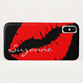 Coque iPhone X Lèvres rouges personnalisées