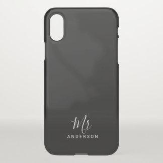 Coque iPhone X M. et Mme manuscrit moderne noir et blanc de  