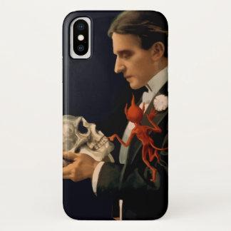 Coque iPhone X Magicien vintage, Thurston tenant un crâne humain