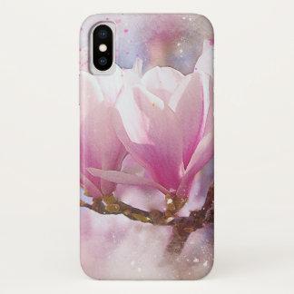 Coque iPhone X Magnolia pourpre rose de floraison - fleur de