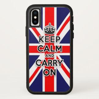 Coque iPhone X maintenez calme et continuez le drapeau d'Union