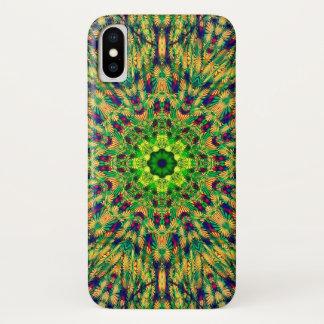 Coque iPhone X Mandala de festival d'homme vert
