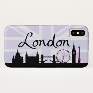 Coque iPhone X Manuscrit de Londres sur le ciel d'Union Jack et
