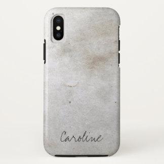 Coque iPhone X Marbre blanc. Ajoutez le nom