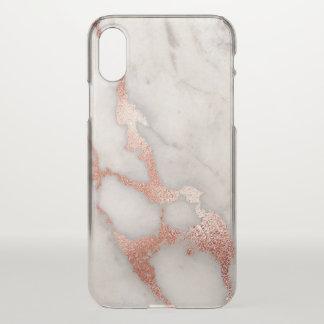 Coque iPhone X Marbre rose élégant de parties scintillantes d'or