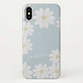 Coque iPhone X Marguerites de printemps de ciel bleu faites sur