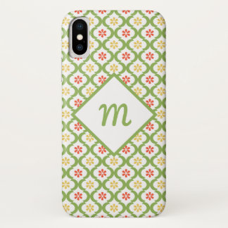 Coque iPhone X Marguerites et monogramme mignons verts Girly de
