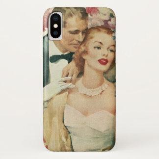 Coque iPhone X Mariage vintage, jeunes mariés avec les fleurs