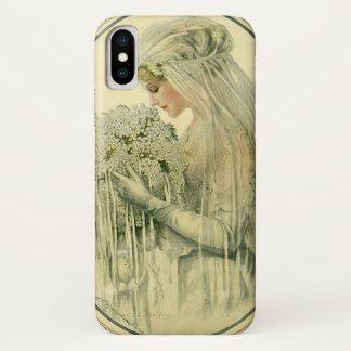 Coque iPhone X Mariage vintage, portrait nuptiale de jeune mariée