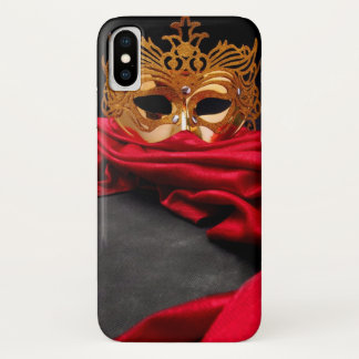 Coque iPhone X Masque décoré pour la mascarade sur le velours
