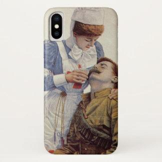 Coque iPhone X Médecine vintage, infirmière avec le soldat de