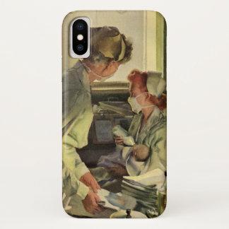 Coque iPhone X Médecine vintage, infirmières avec les nourrissons