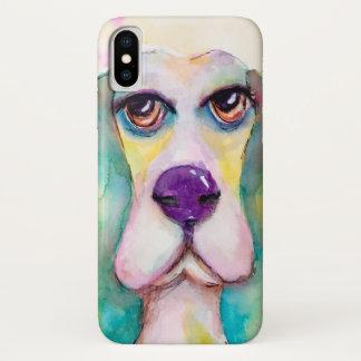 Coque iPhone X Mignon artistique de chien coloré de Basset Hound