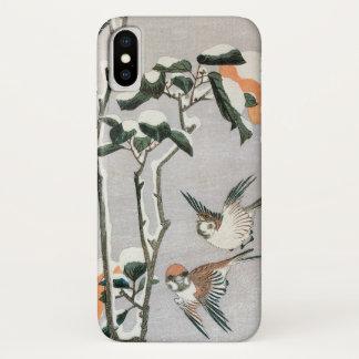 Coque iPhone X Moineaux et camélia dans la neige par Ando