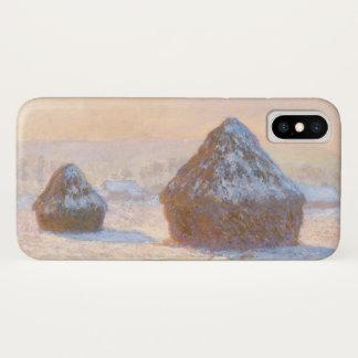 Coque iPhone X Monet Wheatstacks, effet de neige, matin GalleryHD