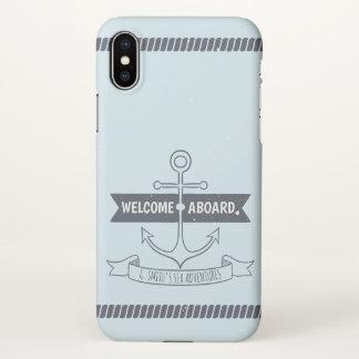 Coque iPhone X Monogramme. Ancre nautique. Accueil à bord