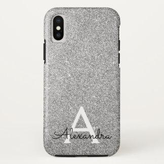Coque iPhone X Monogramme argenté élégant de parties