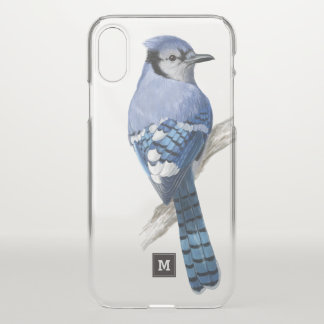 Coque iPhone X Monogramme. Beau geai bleu. Illustration d'oiseau
