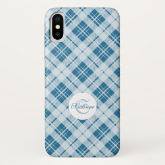 Coque iPhone X Monogramme bleu-clair adorable de Noël de tartan