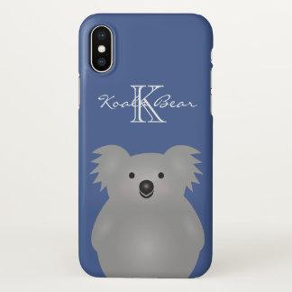 Coque iPhone X Monogramme câlin mignon d'ours de koala de bébé de