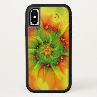 Coque iPhone X Monogramme chaud de fractale d'abrégé sur orange