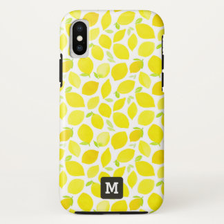 Coque iPhone X Monogramme. Citrons jaunes dans le Watercolor.
