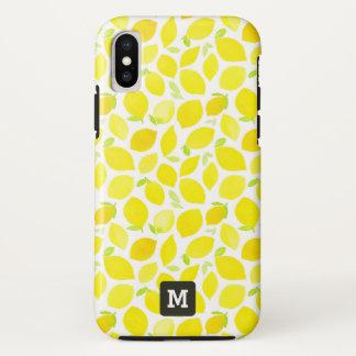 Coque iPhone X Monogramme. Citrons jaunes dans le Watercolor.
