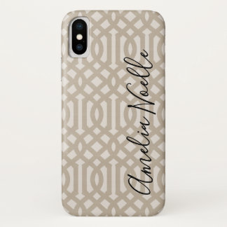 Coque iPhone X Monogramme de toile beige de treillis de ferme