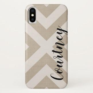 Coque iPhone X Monogramme de toile de beige de la ferme X
