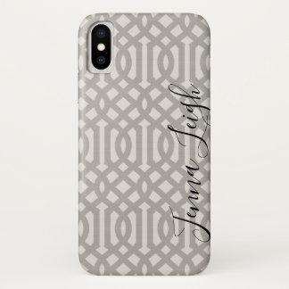 Coque iPhone X Monogramme de toile gris de treillis de ferme