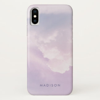 Coque iPhone X Monogramme en pastel de nom de motif de marbre de