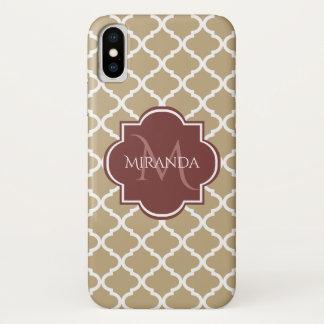 Coque iPhone X Monogramme et nom bronzages élégants de Quatrefoil