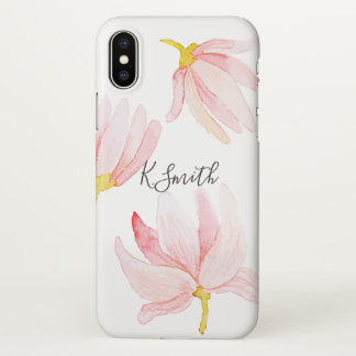 Coque iPhone X Monogramme. Fleurs de rose de ressort d'aquarelle