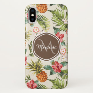 Coque iPhone X Monogramme floral de Brown d'ananas tropical
