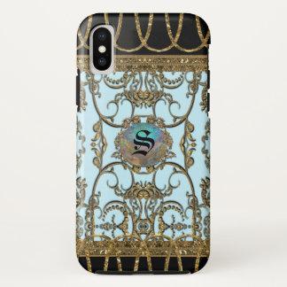 Coque iPhone X Monogramme Girly élégant de plaisir d'Inoubliable