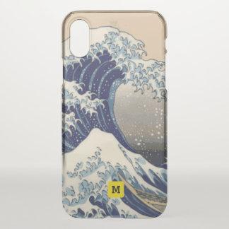 Coque iPhone X Monogramme. Japonais vintage. Peinture de Hokusai