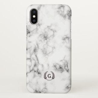 Coque iPhone X Monogramme. Laurier de blé. Marbre noir et blanc