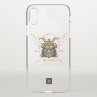 Coque iPhone X Monogramme. Masque samouraï japonais d'or