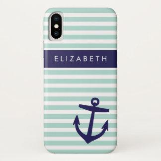 Coque iPhone X Monogramme mignon d'ancre de rayures nautiques de