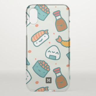 Coque iPhone X Monogramme. Modèle japonais mignon de sushi de