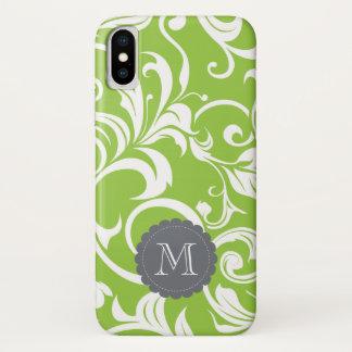 Coque iPhone X Monogramme moderne de coutume de papier peint