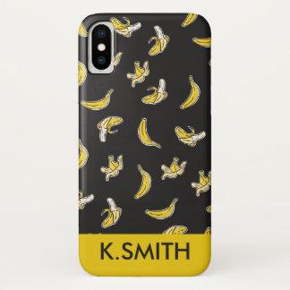 Coque iPhone X Monogramme. Moderne. Modèle jaune de banane