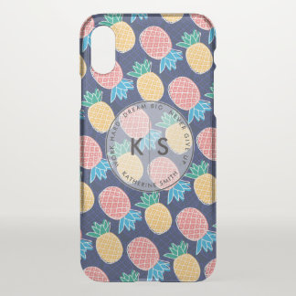 Coque iPhone X Monogramme. Motif tropical moderne d'ananas
