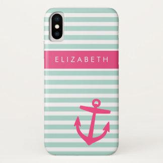Coque iPhone X Monogramme nautique d'ancre de rayures de menthe