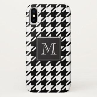 Coque iPhone X Monogramme noir de pied-de-poule