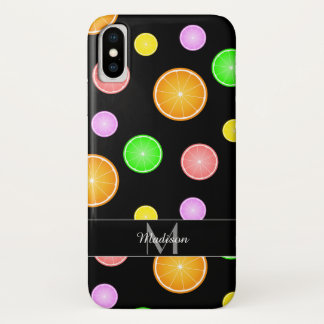 Coque iPhone X Monogramme orange de motif d'été de pamplemousse