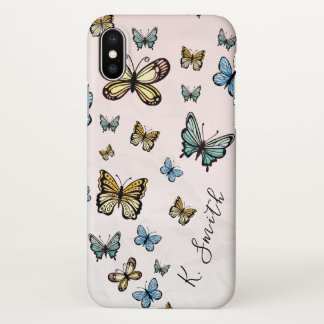 Coque iPhone X Monogramme. Papillons d'aquarelle