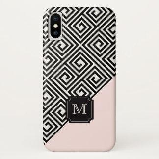 Coque iPhone X Monogramme principal grec rose noir moderne chic